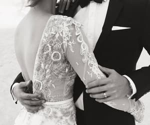 dress, kiss, and wedding image
