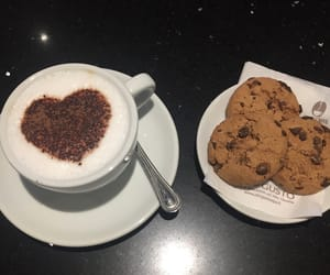breakfast, cappuccino, and chocolate image