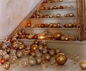 christmas, gold, and decoration image