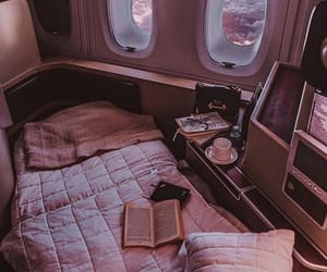 bed, travel, and airplane image