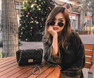 beauty, brown hair, and christmas image