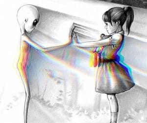 alien, girl, and drawing image