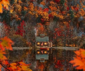 autumn, fall, and cabin image