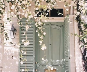 flowers, door, and spring image