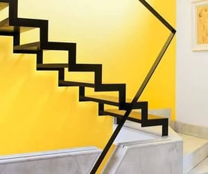 interior design, stairs, and yellow image