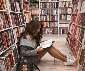 books, girl, and library image