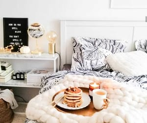 bed, candle, and coffee image