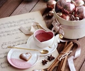 pink, heart, and tea image