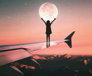 airplane, girl, and moon image