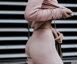 street style, sweat pants, and pastel pink image