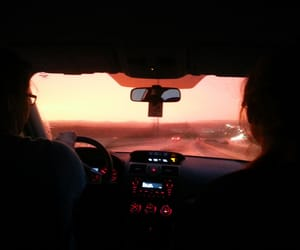 car, travel, and sunset image