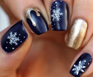 nails, gold, and winter image