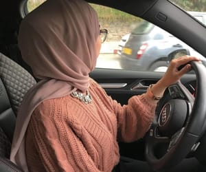 hijab, car, and حجاب image