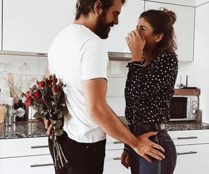 love, couple, and roses image