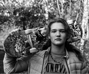 black and white, photography, and skateboard image