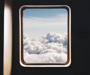 air, airplane, and cloud image