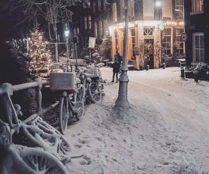 lights, night, and snow image