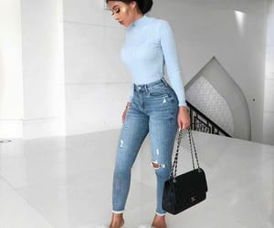 blue jeans, fall outfit, and fuzzy slippers image