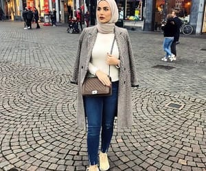 hijab, checked blazer, and checked pants image