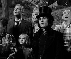 johnny depp, black and white, and Willy Wonka image