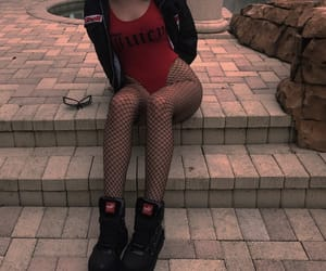 red, grunge, and fashion image