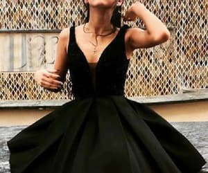 prom dress black, homecoming dress lace, and prom dress two piece image