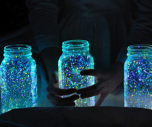light, blue, and glitter image