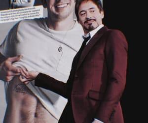 chris evans, robert downey jr, and iron man image