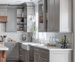 grey, kitchen, and and metal accessories image
