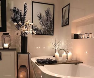 bathroom, candle, and decor image