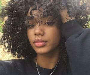 girl, curly hair, and black image