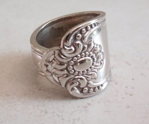 silver plate ring, large heavy, and gift for her image