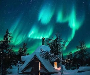 northern lights and snow image
