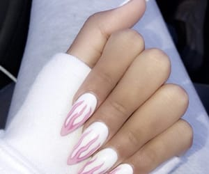 flames, nails, and pink image