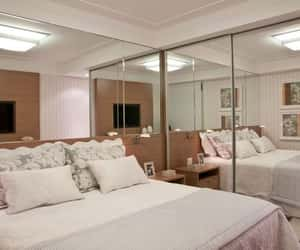 bedroom, design, and mirror image