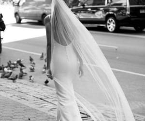 art, black and white, and bride image