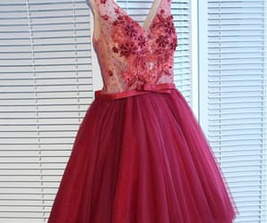 red homecoming dress, homecoming dress a-line, and v-neck homecoming dress image