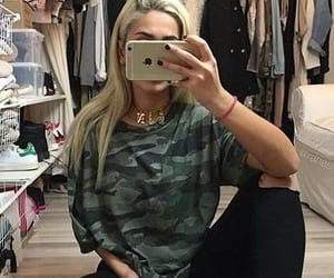 camo, hair, and jeans image