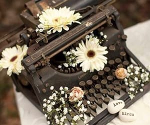flowers, photography, and typewriter image