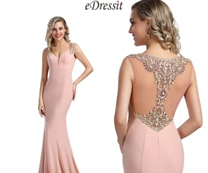 mermaid style, pink evening dress, and beaded prom gown image