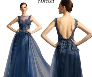 evening gown, sexy back, and navy blue image