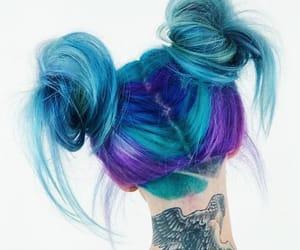 alternative, blue hair, and buns image