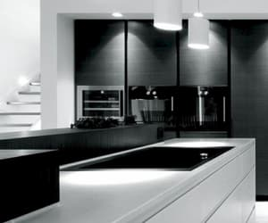 black, interior, and kitchen image