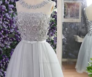 short homecoming dresses, appliques prom dresses, and grey prom dresses image