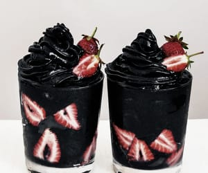 black, food, and strawberry image