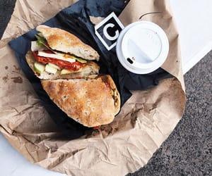 food, coffee, and sandwich image