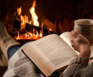 books, coffee, and christmas image