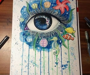 drawing, eye, and sea image