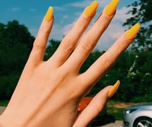 nails, yellow, and manicure image
