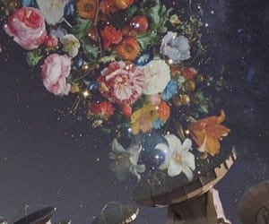flowers, wallpaper, and galaxy image